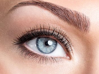 Beauty female blue eye with curl long false eyelashes