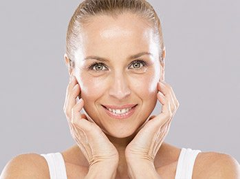 Middle aged woman without wrinkles.